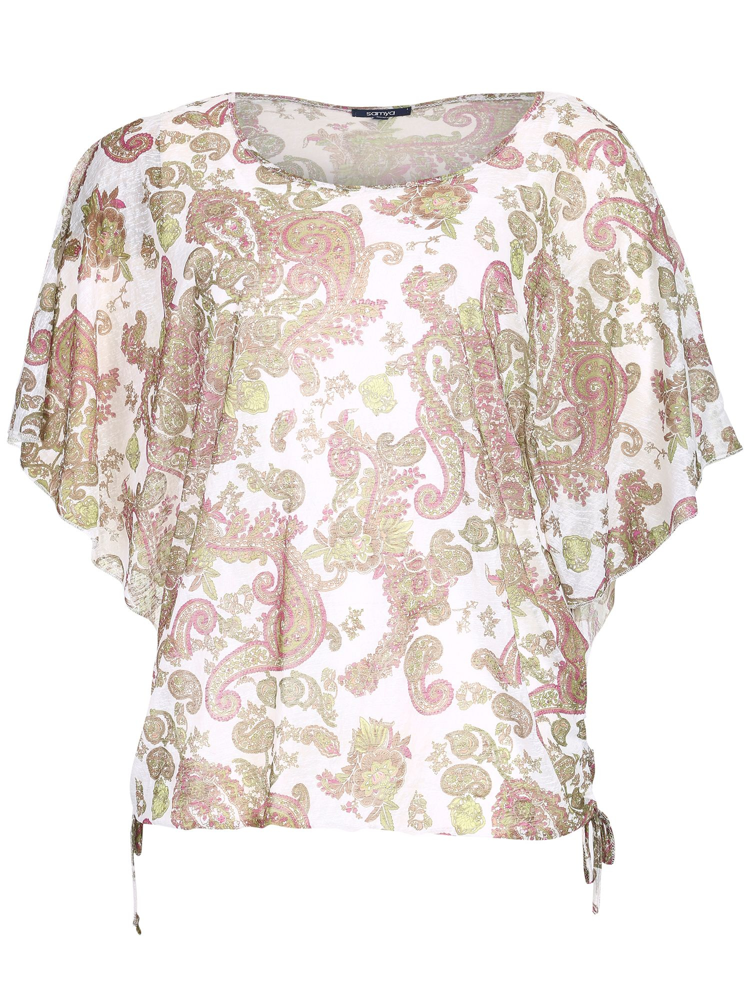 Samya Plus Size Faded Paisley Print Top in Pink