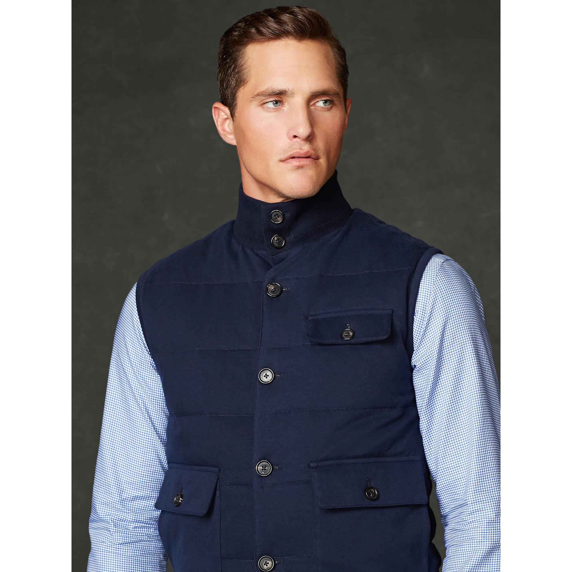 Ralph Lauren Purple Label Quilted Down Vest In Blue