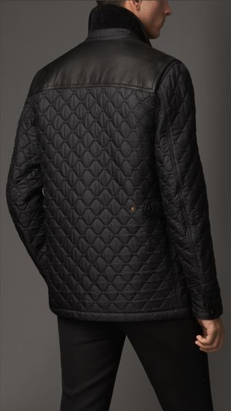 Burberry Leather Detail Quilt Field Jacket In Black For