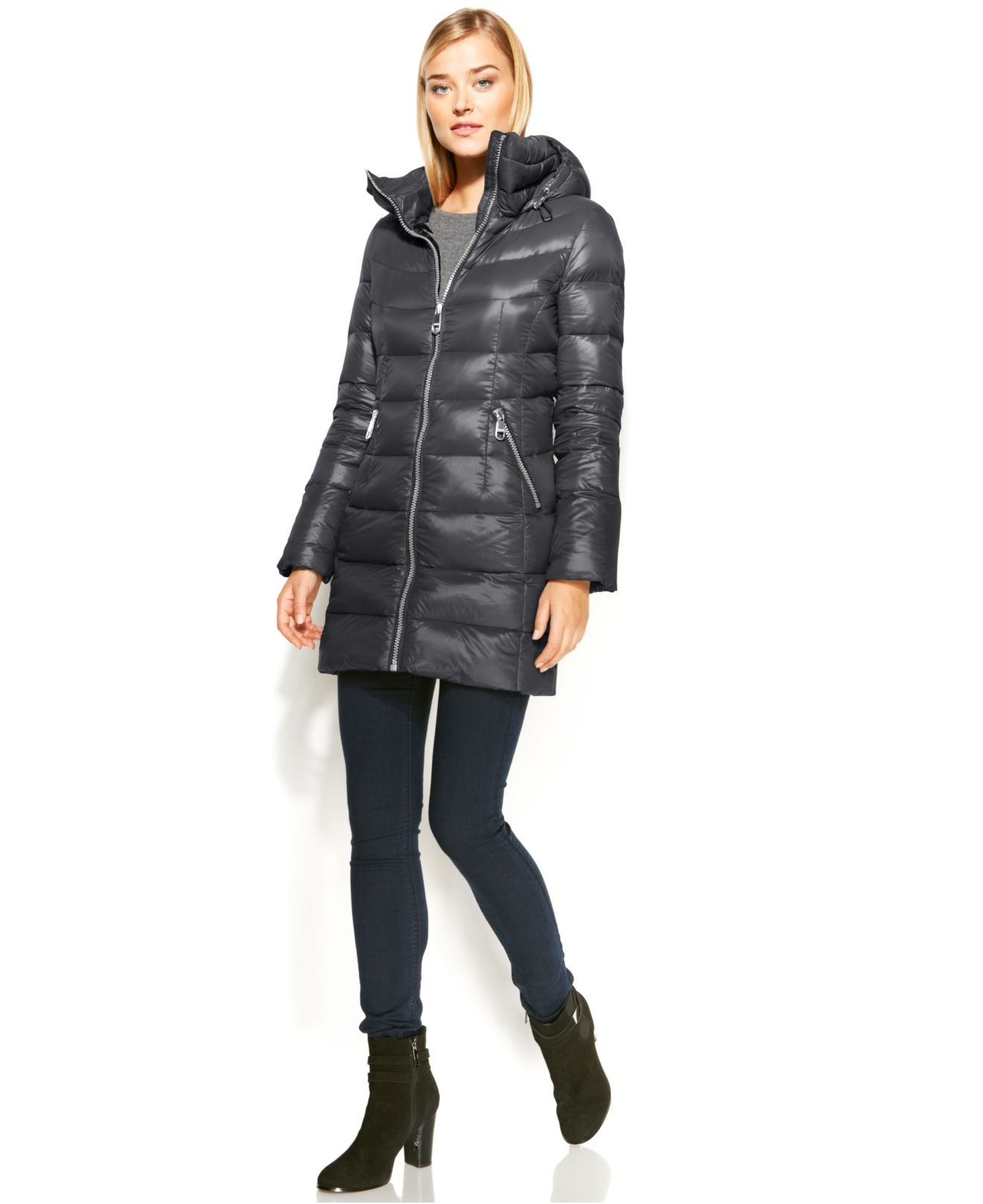c68b9a7df Calvin Klein Gray Hooded Quilted Packable Down Puffer Coat