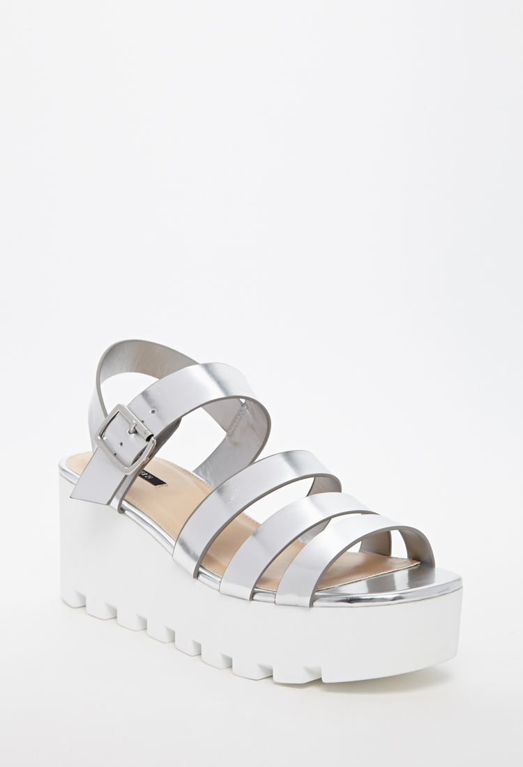 Lyst - Forever 21 Patent Faux Leather Platform Sandal in Metallic 3994b8e4d8
