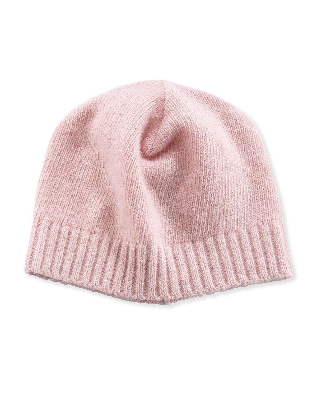 cb7d6353f Portolano Pink Cashmere Basic Knit Beanie Hat