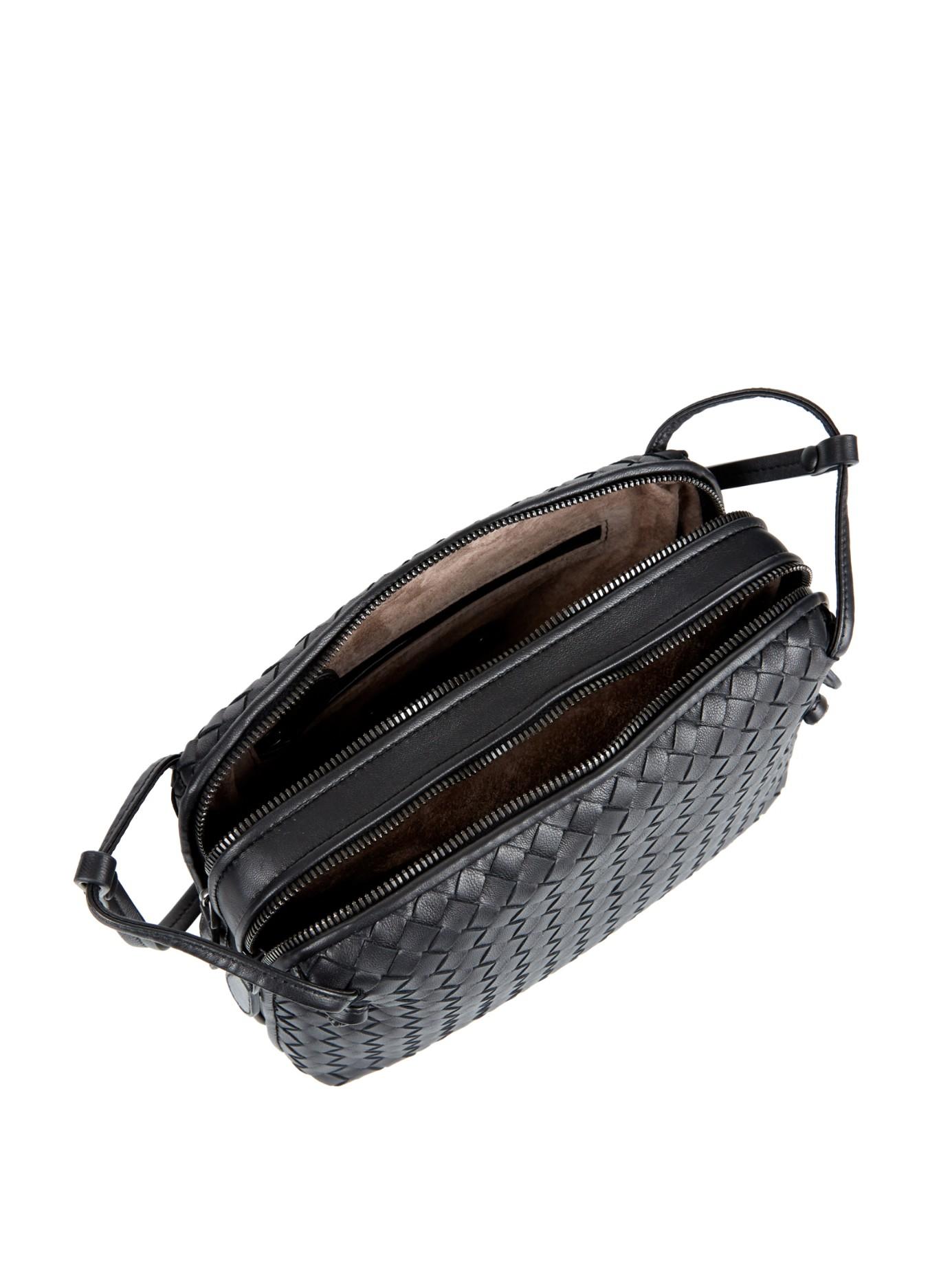 923e453aa0eb Lyst - Bottega Veneta Intrecciato Leather Two-compartment Cross-body Bag in  Black