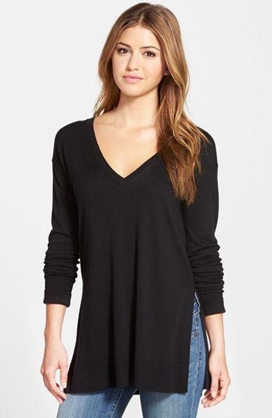 Halogen Side Slit V Neck Tunic Sweater In Black Lyst
