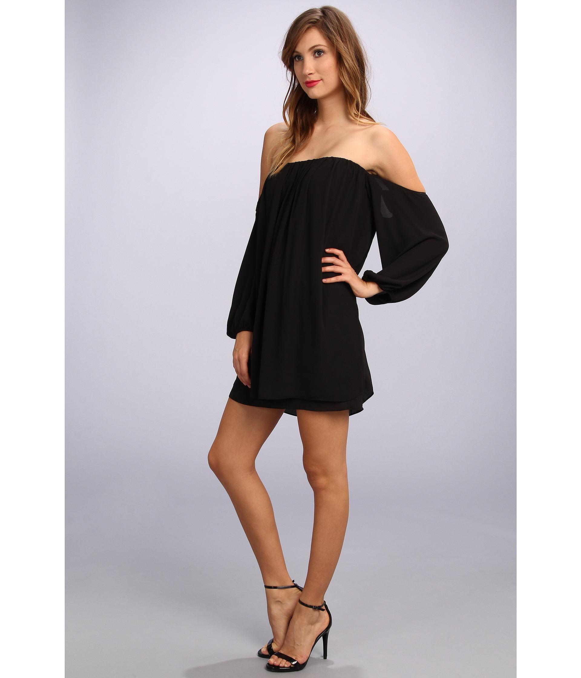 df3690ce3794 Lyst - T-bags Chiffon Off Shoulder Sleeve Mini Dress in Black