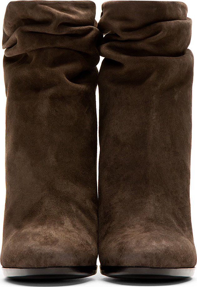 Burberry prorsum Clay Grey Suede Slouchy Ankle Boots in Brown | Lyst