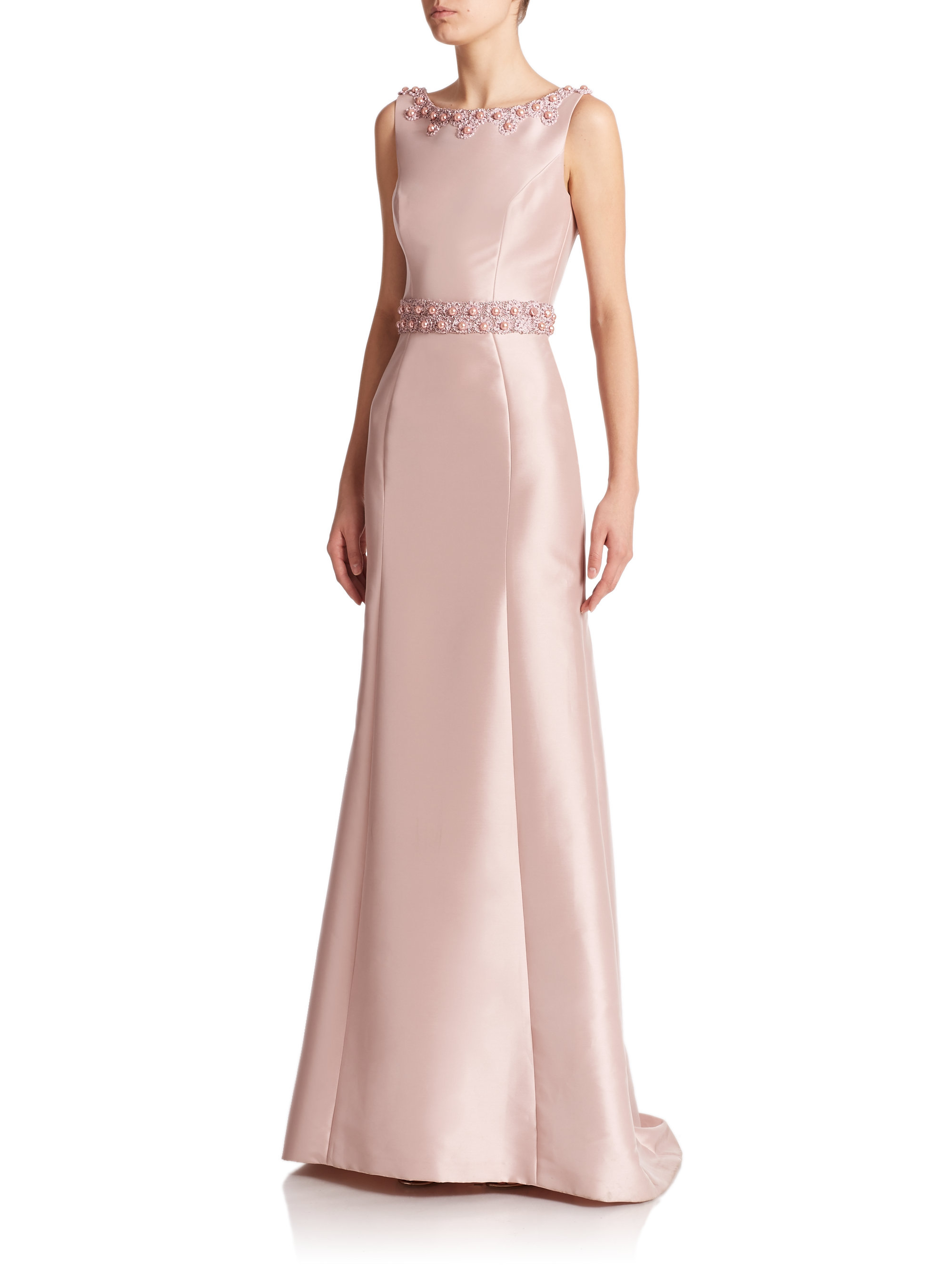 Theia Beaded Boatneck Gown In Pink Lyst