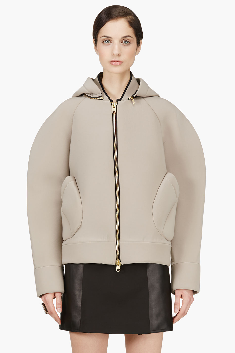 Denis gagnon Beige Neoprene Bomber Jacket in Natural | Lyst