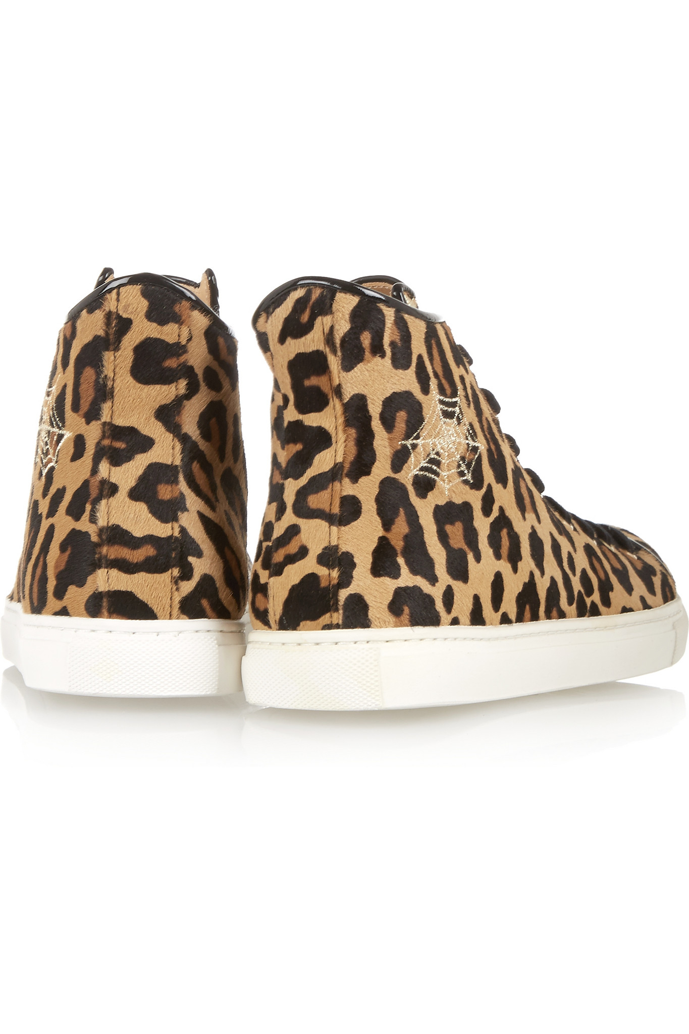 Charlotte Olympia Purrrfect Leopard-print Calf Hair High-top Sneakers