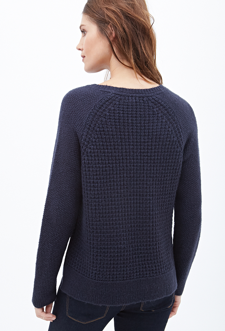 2fa35bdefb69 Forever 21 Waffle Knit Sweater in Blue - Lyst