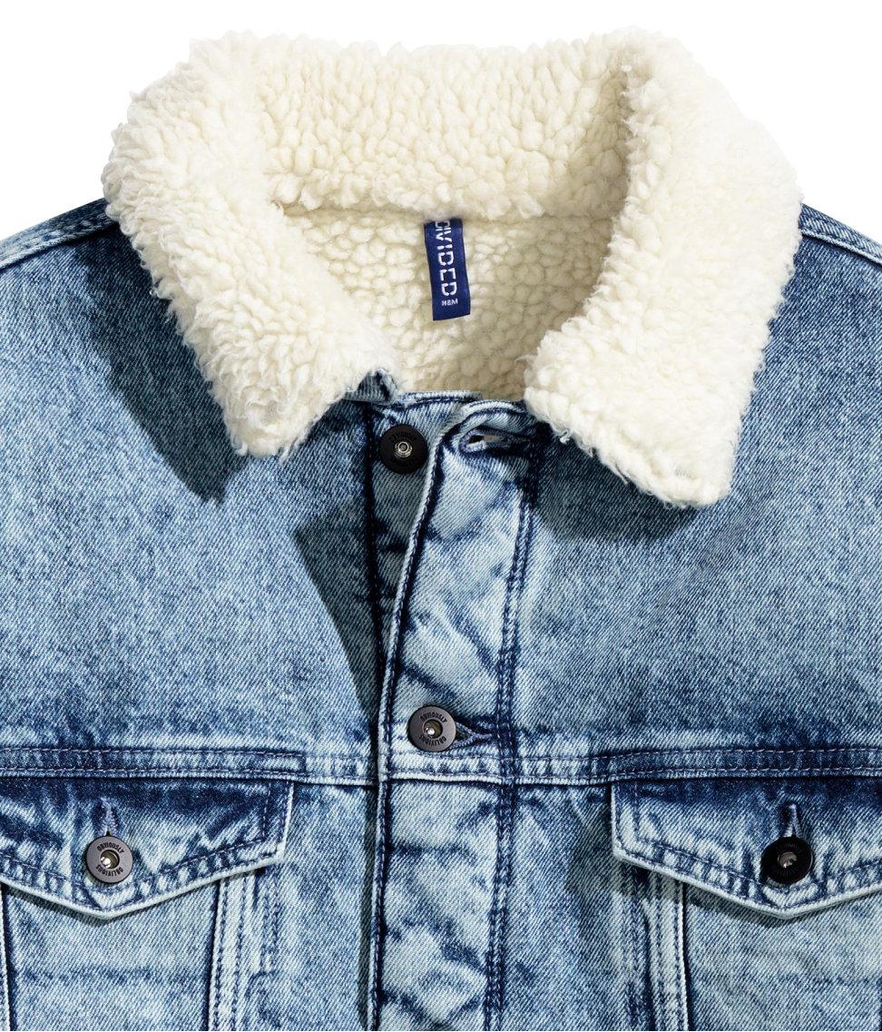 H Amp M Pile Lined Denim Jacket In Blue For Men Lyst
