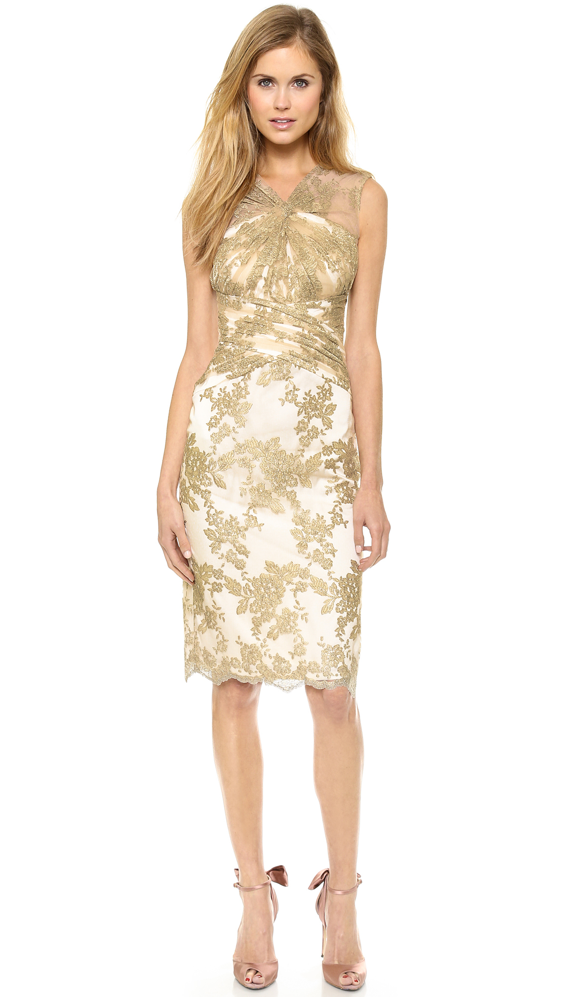 badgley mischka collection lace loop cocktail dress gold