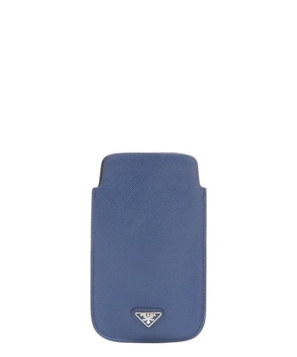 Prada Blue Saffiano Leather Padded Iphone Case in Blue for Men | Lyst