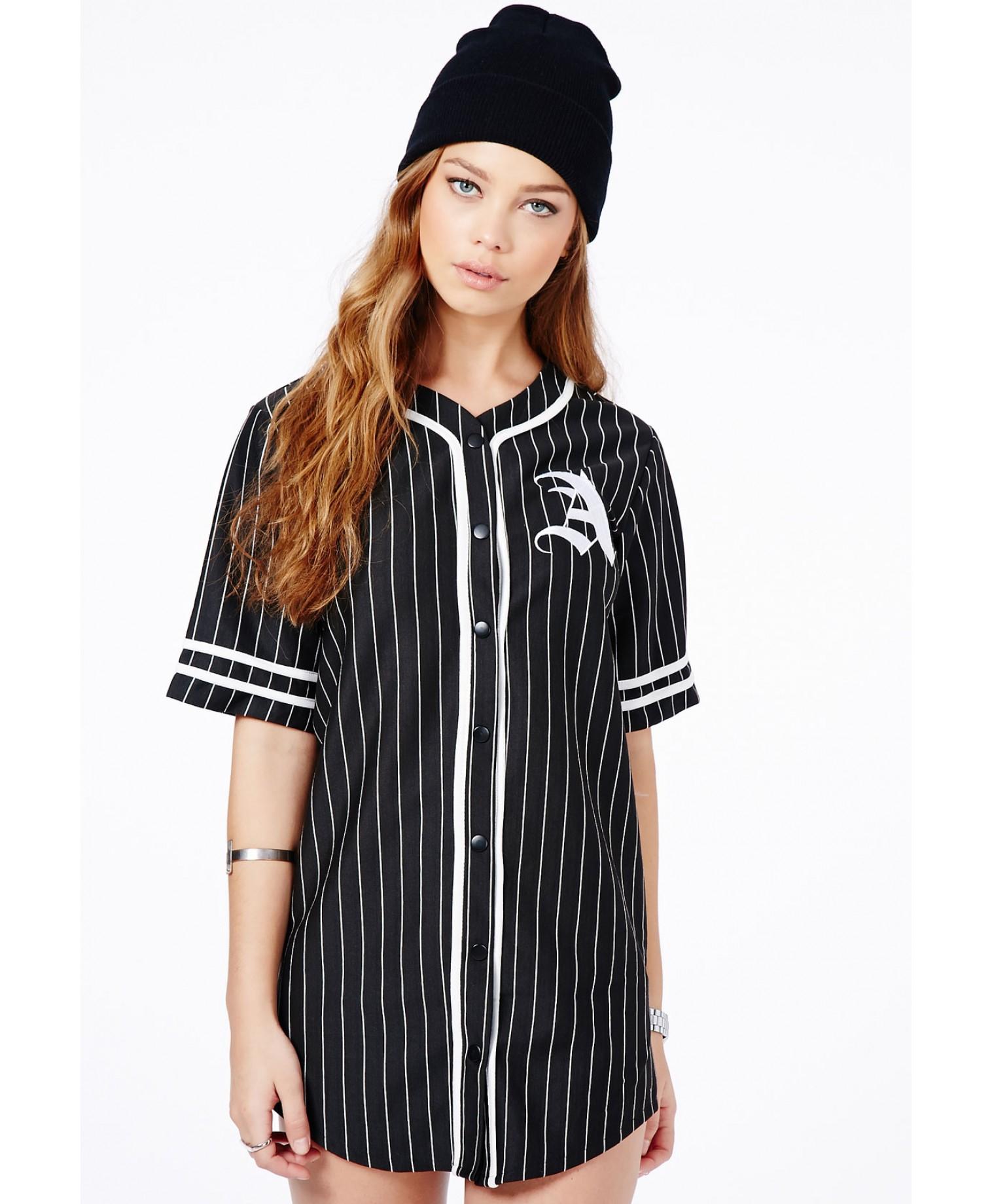 Missguided paris oversized a baseball shirt dress in black for Baseball jersey shirt dress
