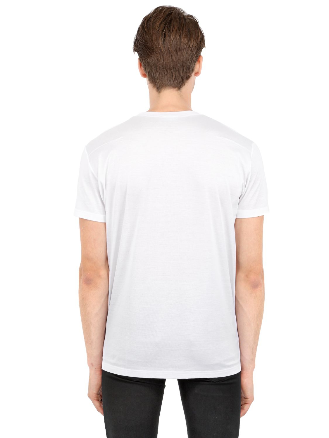 dior homme bee embroidered jersey t shirt in white for men. Black Bedroom Furniture Sets. Home Design Ideas