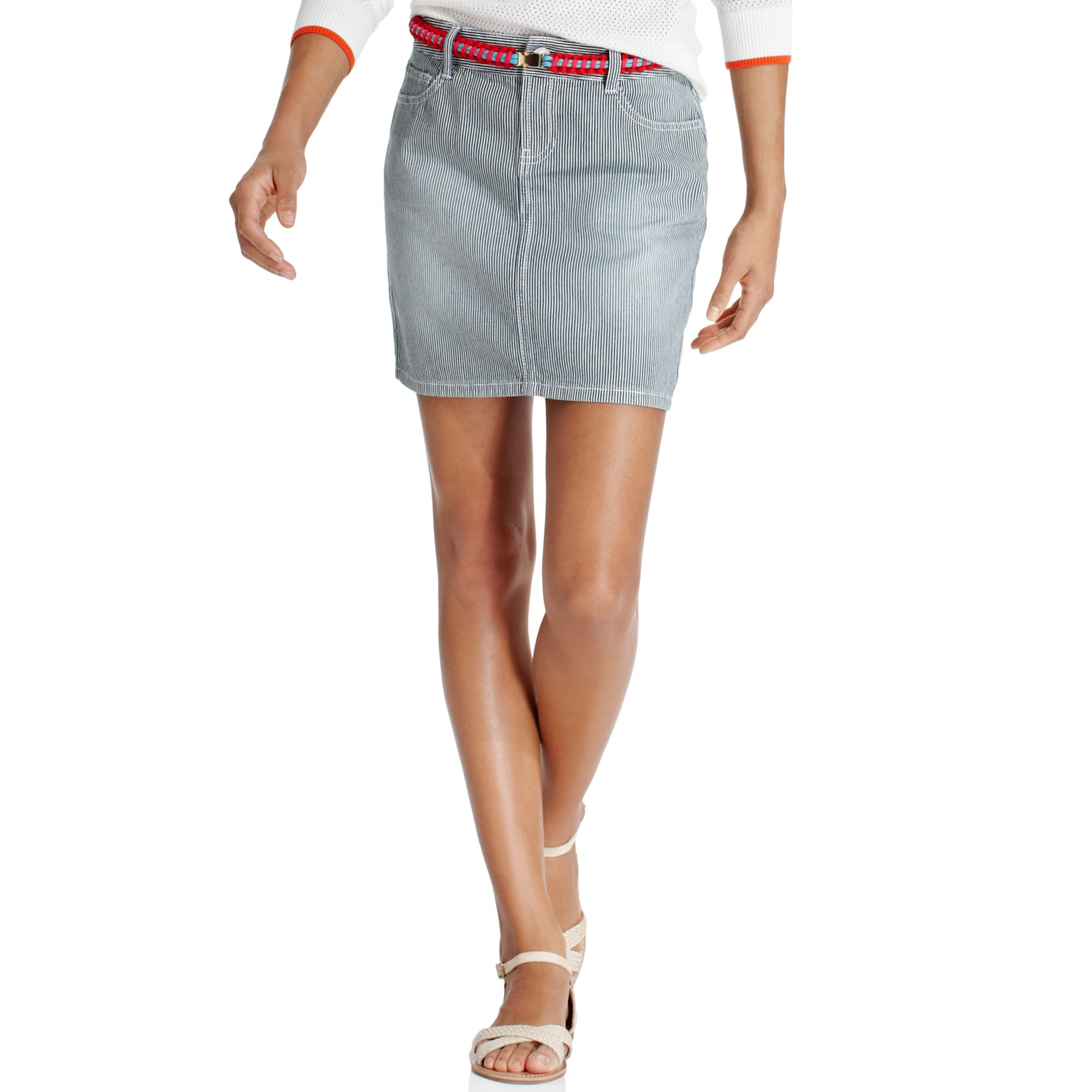Tommy hilfiger Grey Pinstriped Denim Mini Skirt in Blue | Lyst
