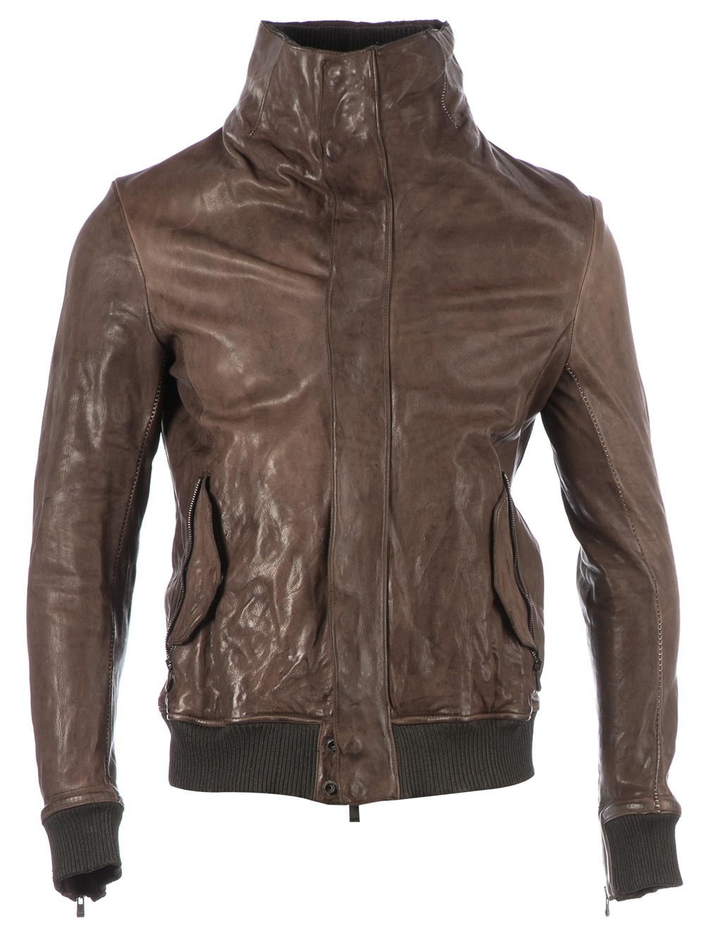 Lyst Incarnation Funnel Neck Leather Jacket In Brown For Men