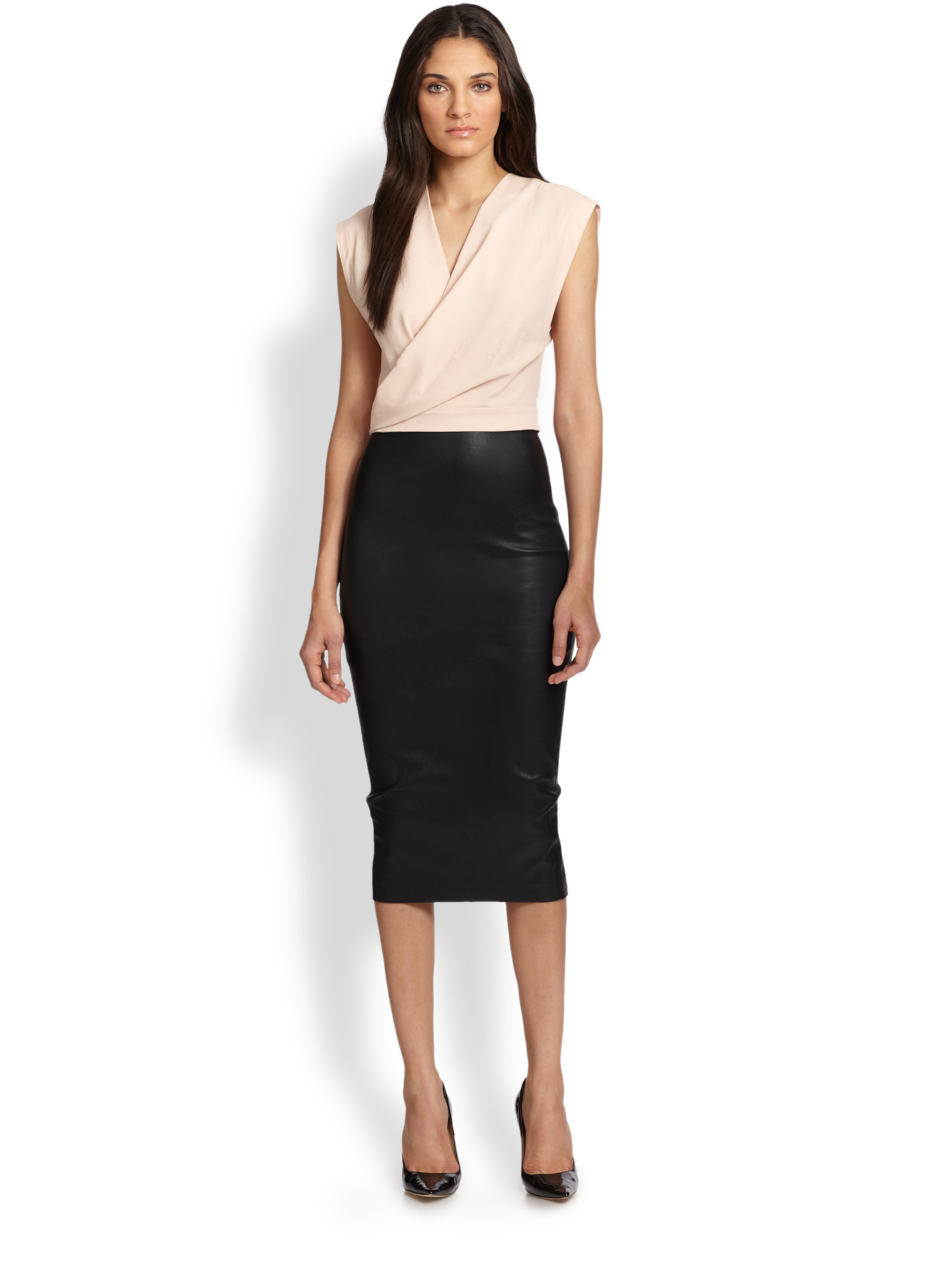 Robert rodriguez Stretch Leather Pencil Skirt in Black | Lyst