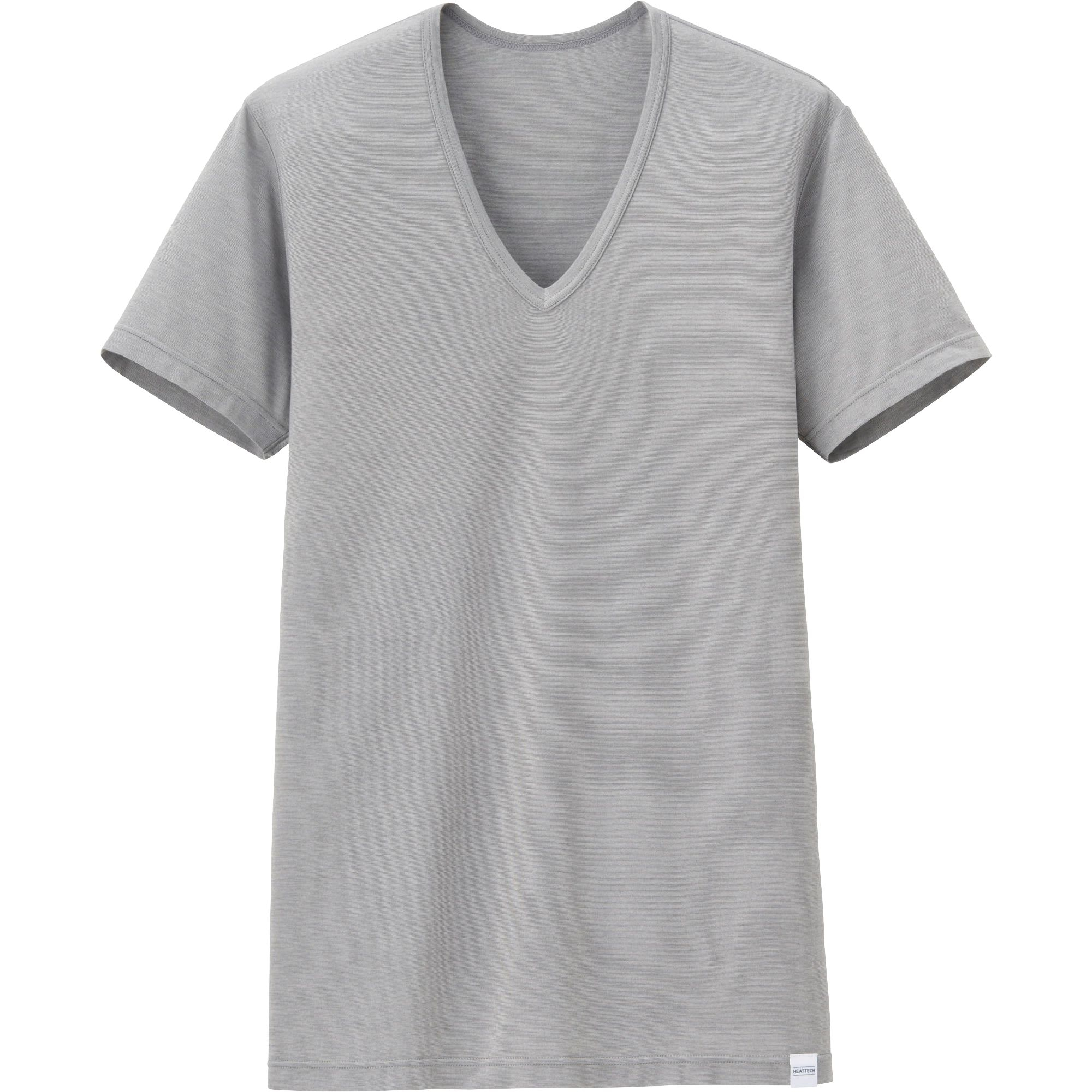 Uniqlo heattech short sleeve v neck t shirt in gray for for Uniqlo t shirt sizing