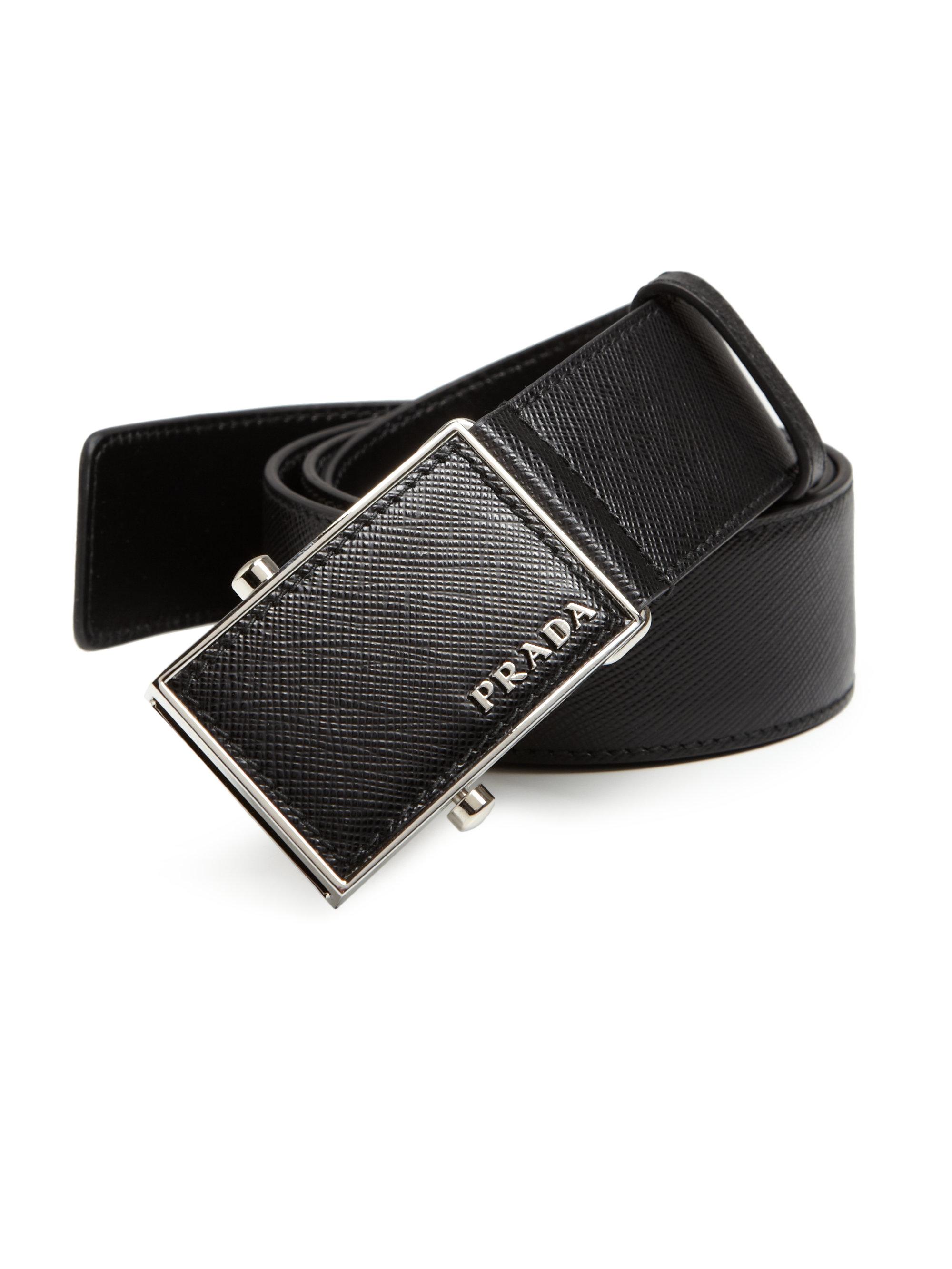 55c3a20f6e489 ... reduced lyst prada saffiano leather plaque belt in black for men 827c6  019ef coupon for prada saffiano reversible ...