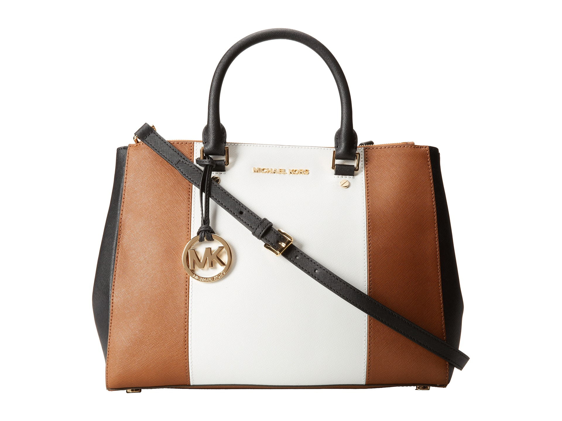 cff12b7a2df16c ... saffiano leather tote in natural d13e5 083d0; sale official lyst  michael michael kors sutton center stripe large satchel in brown e751f  0ed1f 421dd