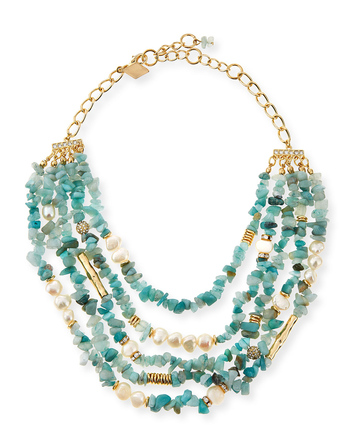 Lyst - Sequin Multi-strand Agate & Pearl Necklace in Blue