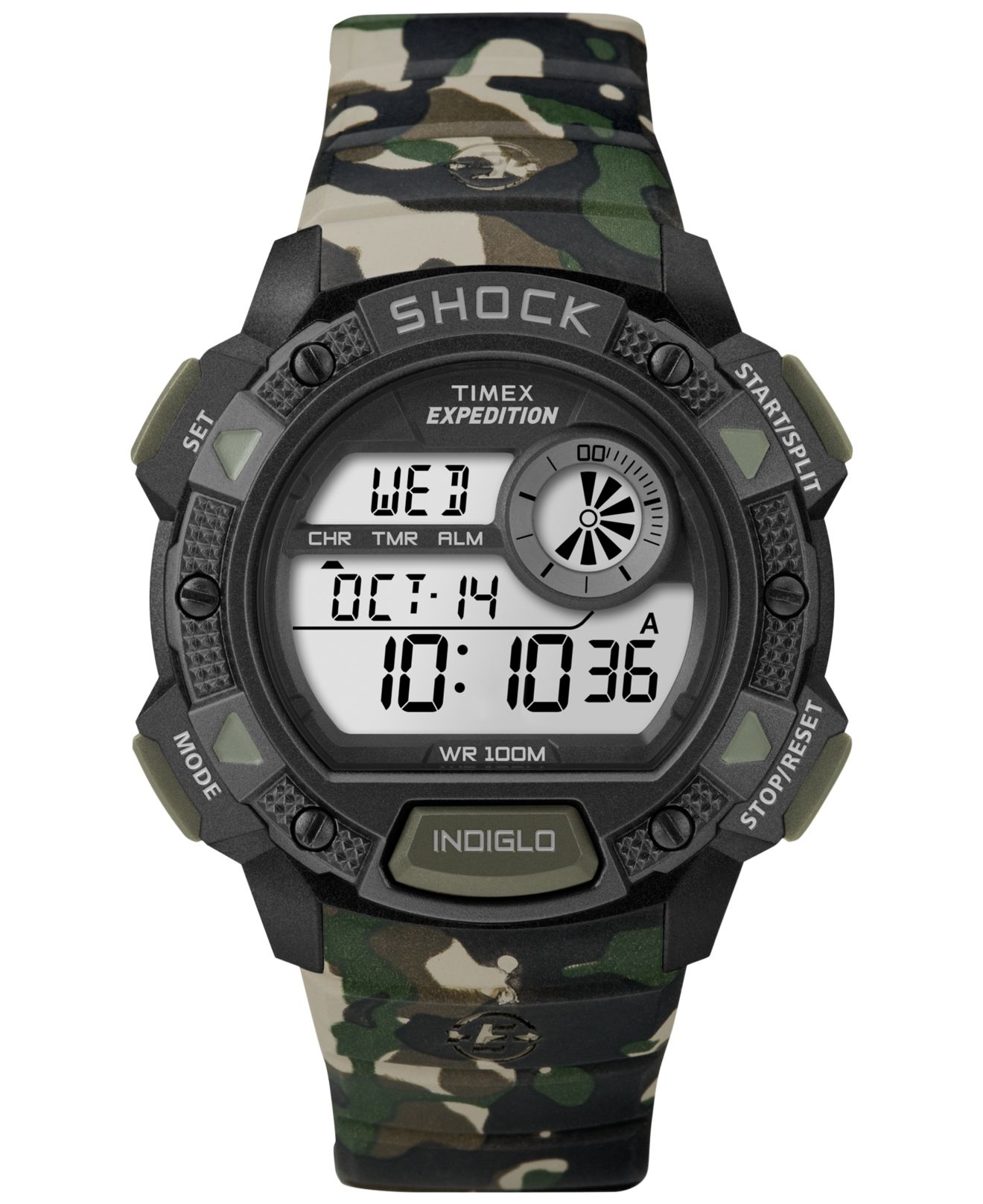 timex s digital expedition base shock green camouflage