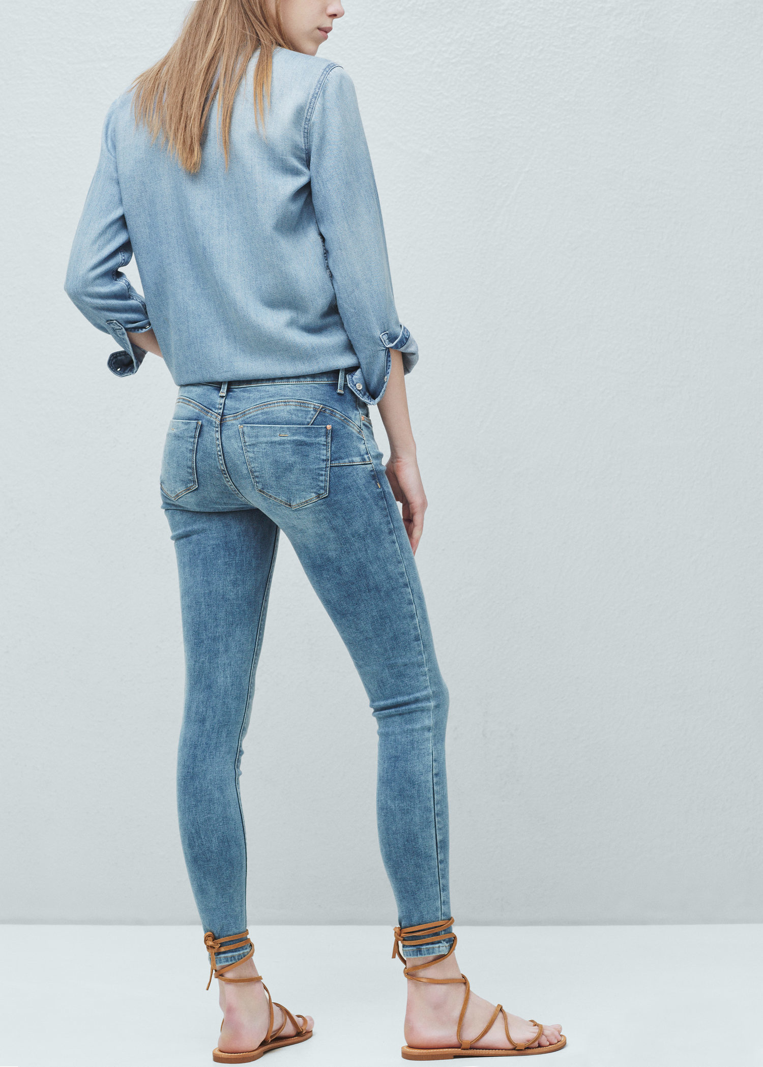 mango kim skinny push up jeans in blue lyst. Black Bedroom Furniture Sets. Home Design Ideas