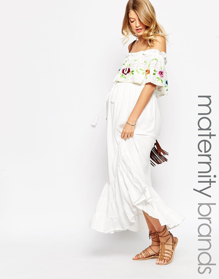 9145b5b629c2a2 Fillyboo Nursing Off The Shoulder Maxi Dress With Floral Embroidery ...