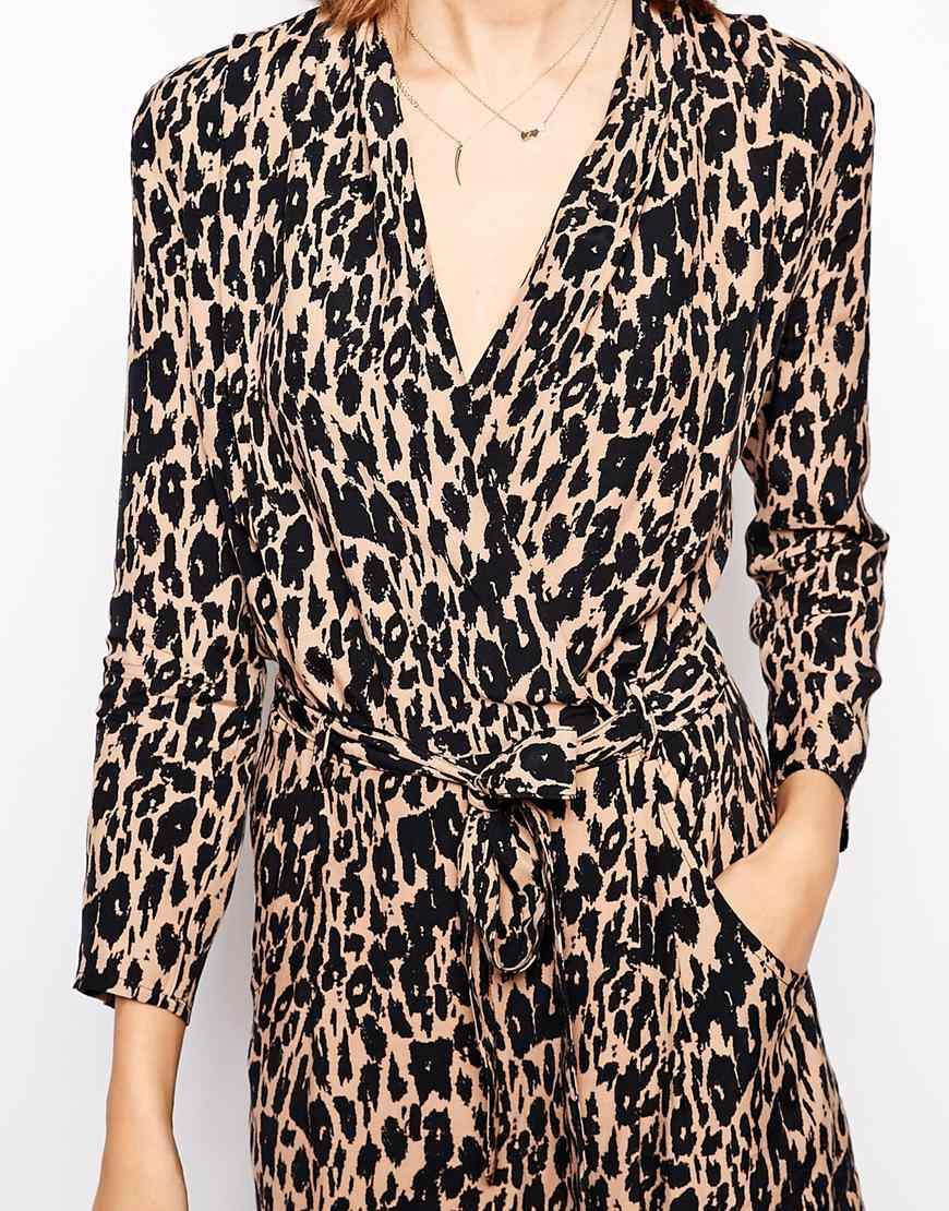 Lyst Ganni Wrap Dress In Leopard Print In Black
