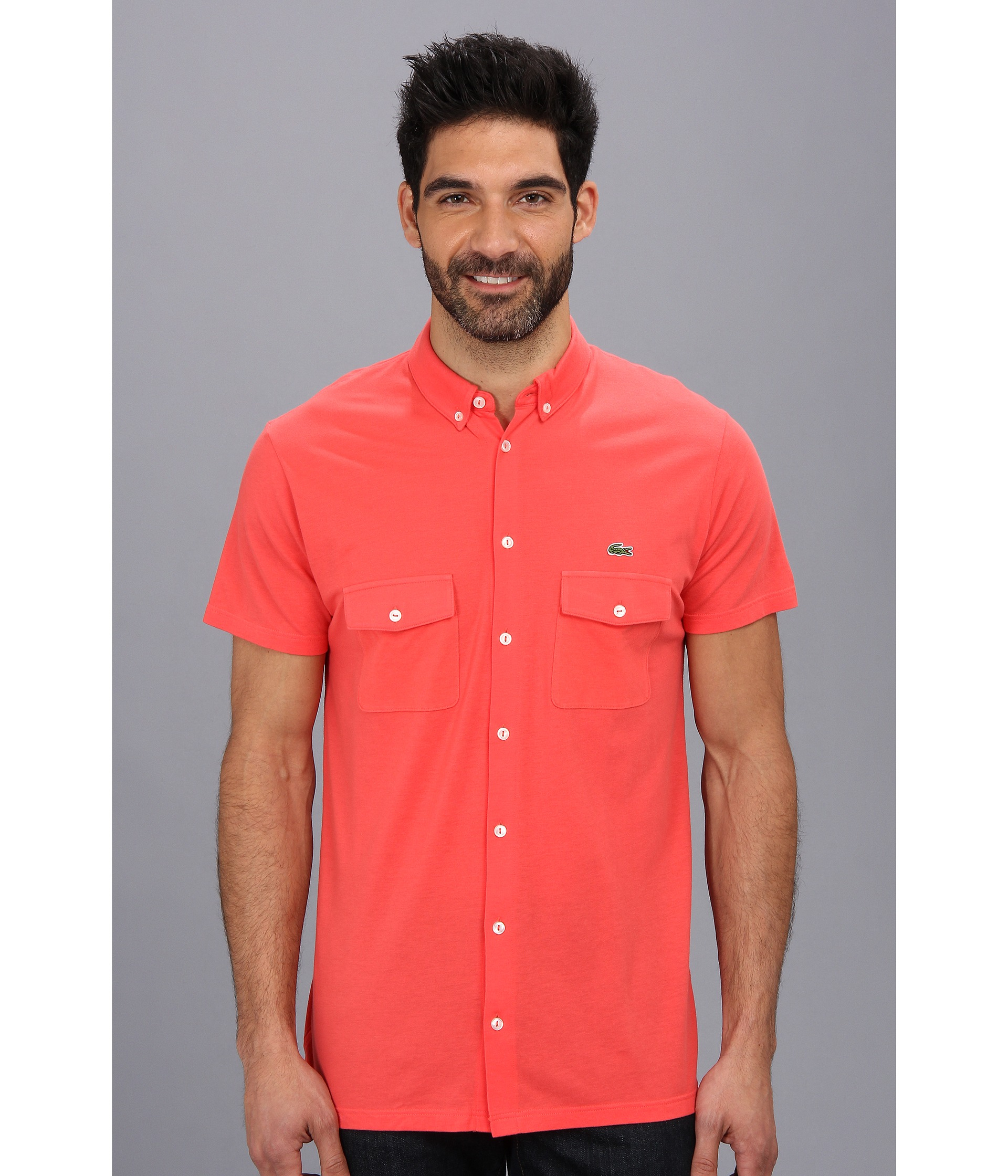 Lacoste Short Sleeve Full Button Double Pocket Micro Pique