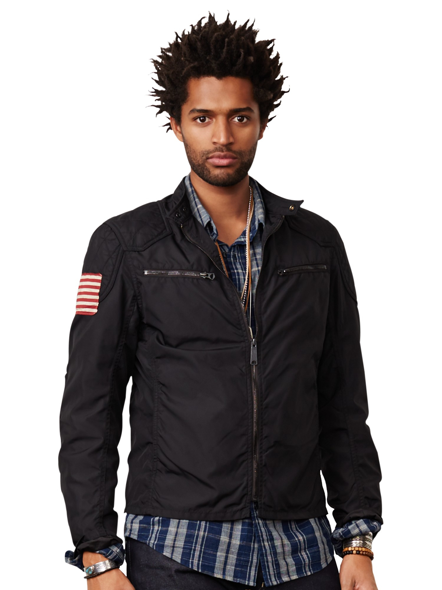 denim supply ralph lauren waxed canvas moto jacket in black for men lyst. Black Bedroom Furniture Sets. Home Design Ideas