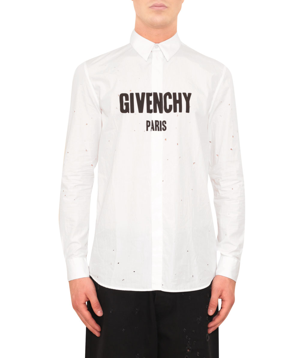 lyst givenchy destroyed cotton shirt in white for men. Black Bedroom Furniture Sets. Home Design Ideas