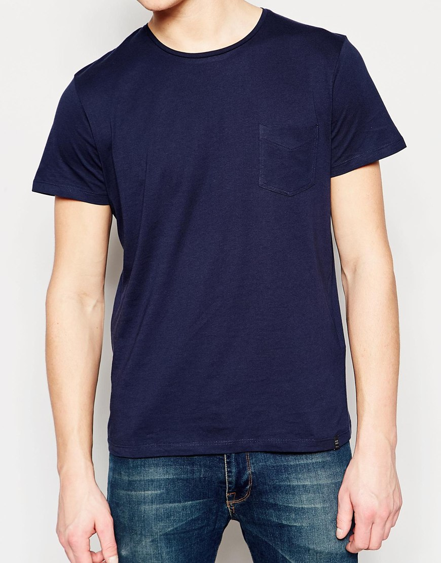 jack jones t shirt with pocket in blue for men lyst. Black Bedroom Furniture Sets. Home Design Ideas