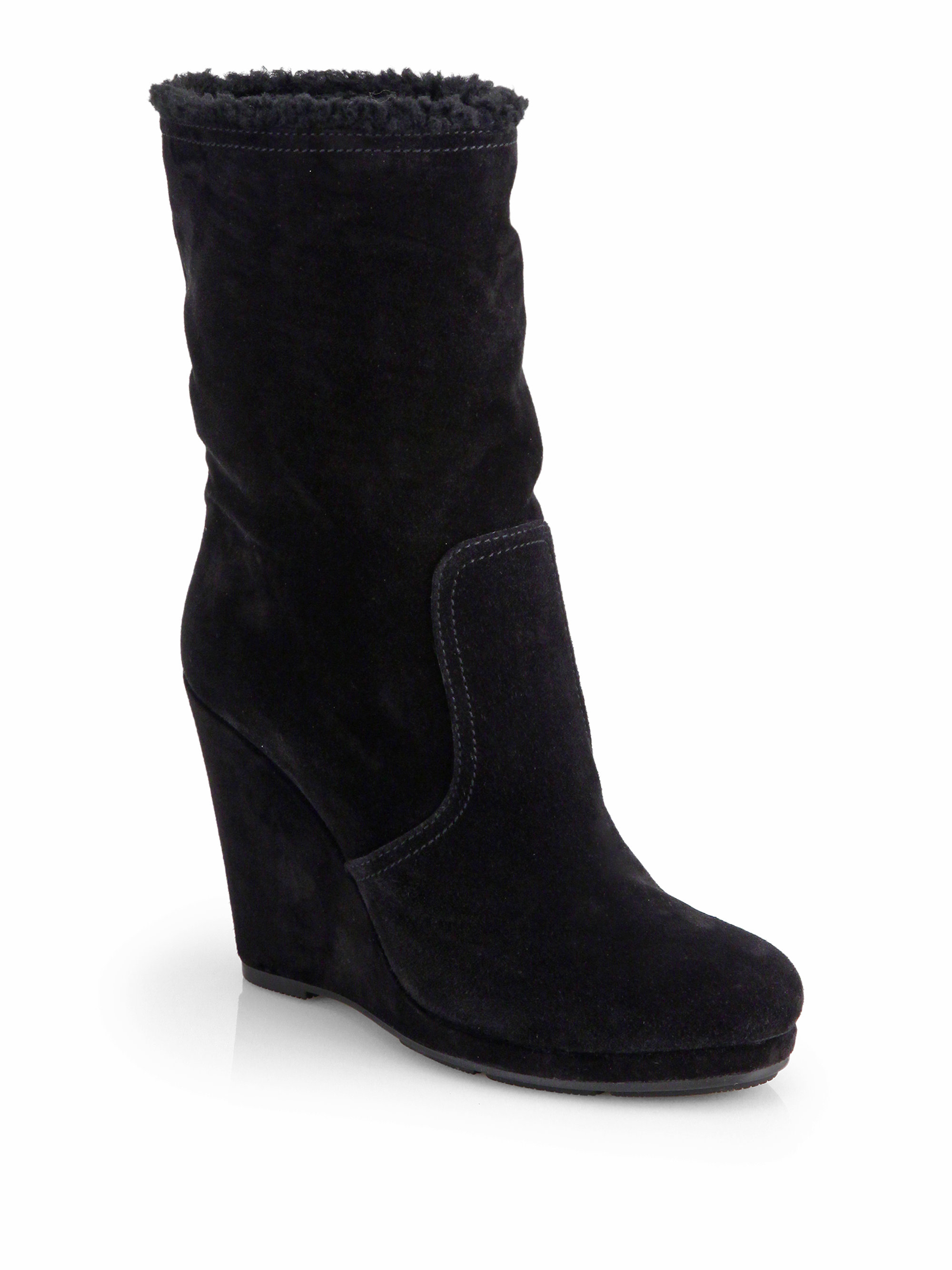 prada suede wedge midcalf boots in black nero black lyst