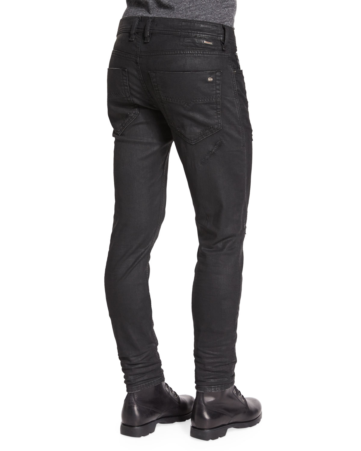 0f298be9 DIESEL Tepphar Distressed Coated Jeans in Black for Men - Lyst