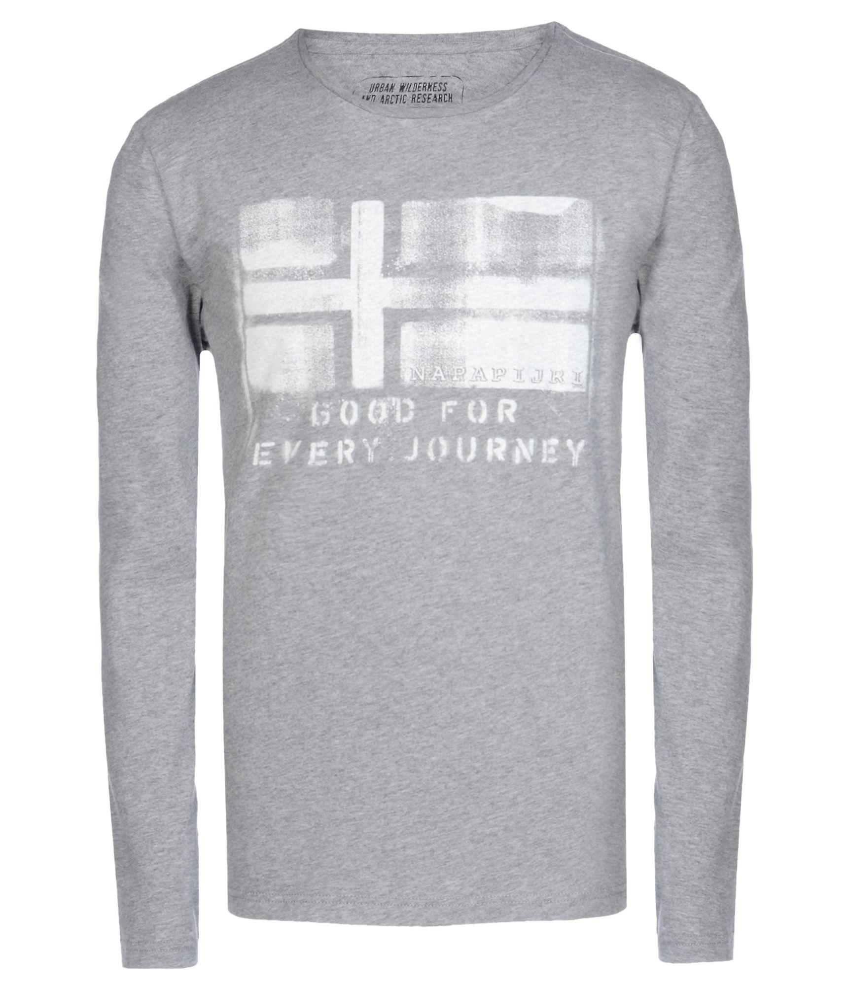 napapijri long sleeve t shirt in gray for men lyst. Black Bedroom Furniture Sets. Home Design Ideas