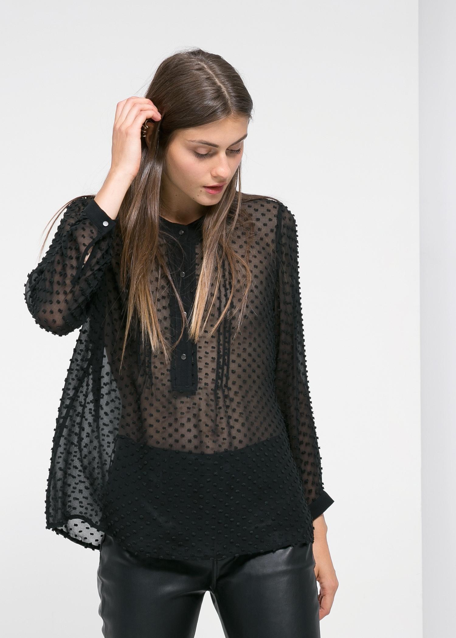 68ea95102f82b3 Lyst - Mango Plumeti Silk-Blend Blouse in Black