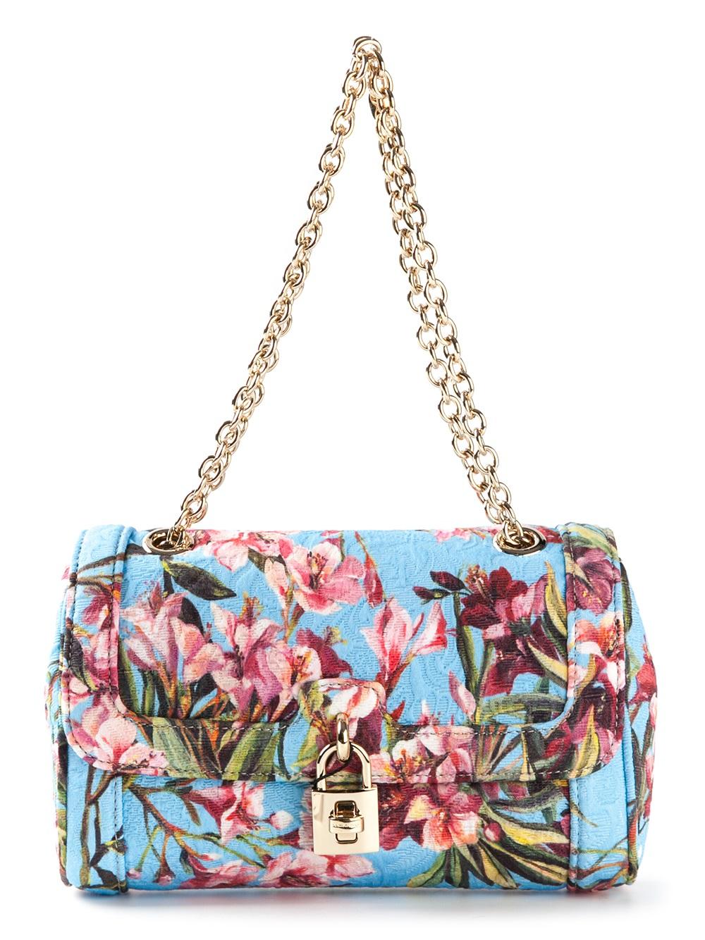 a905cd6ebb Lyst - Dolce   Gabbana  Dolce  Floral Print Shoulder Bag in Blue