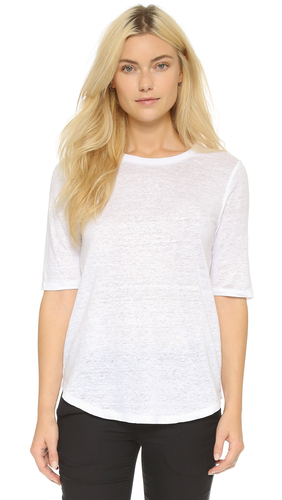 Lyst vince elbow sleeve tee optic white in white for Elbow length t shirts women s