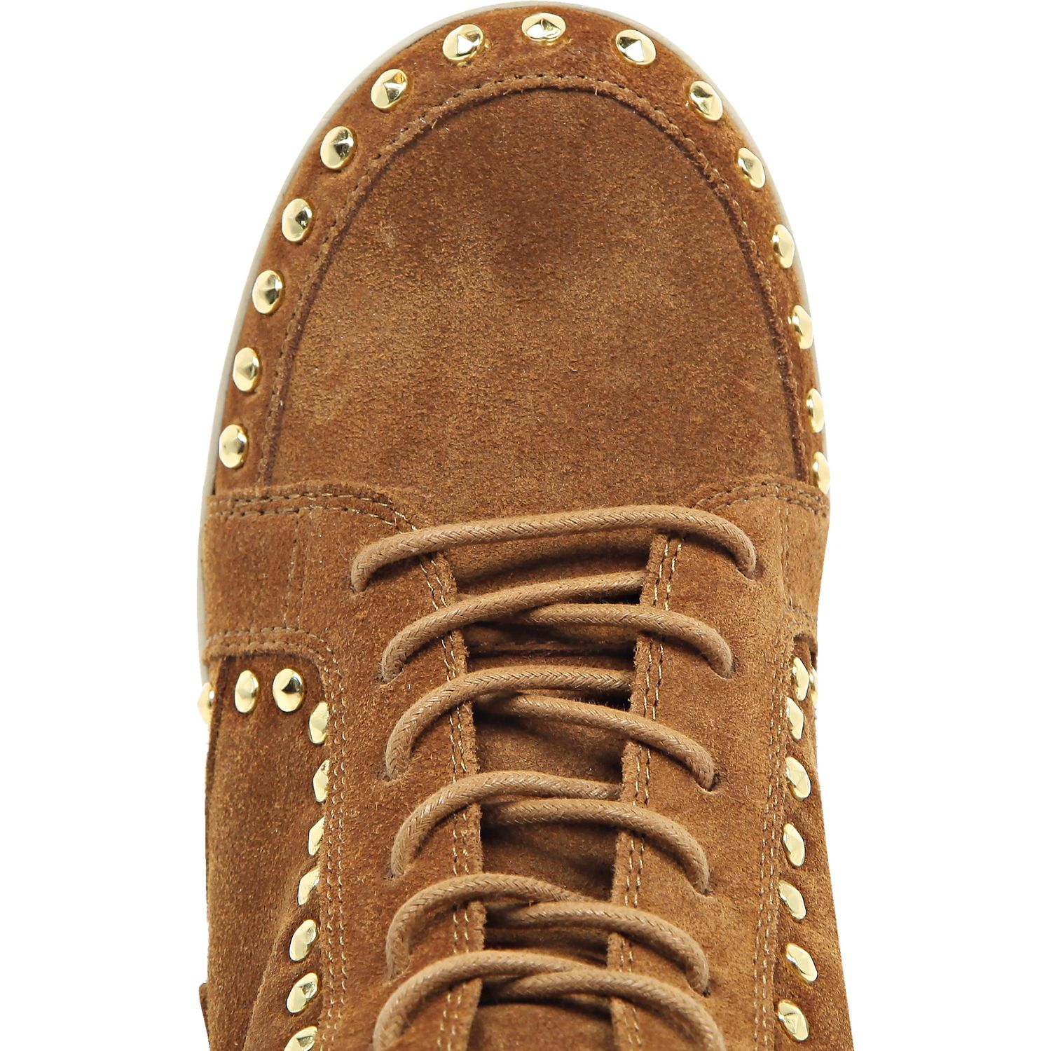 08d2943b70a7 River Island - Multicolor Tan Suede Fringed High Top Wedge Trainers - Lyst