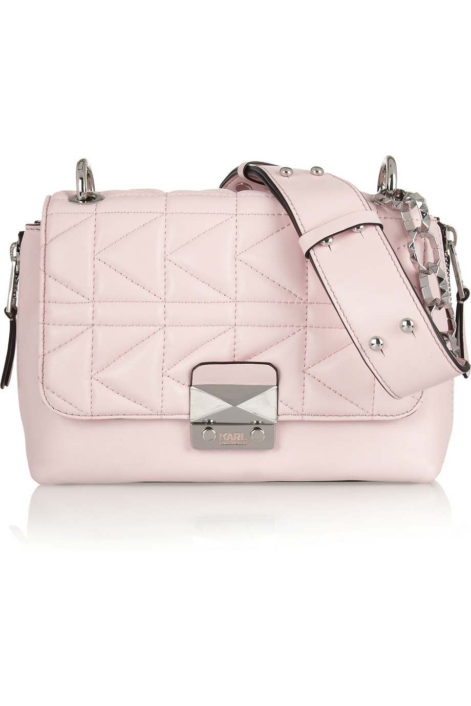 Lyst - Karl Lagerfeld Kuilted Leather Shoulder Bag in Pink 74322248c8824
