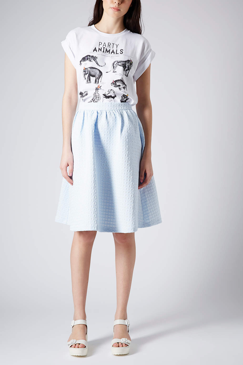 topshop texture gathered knee midi skirt in blue lyst