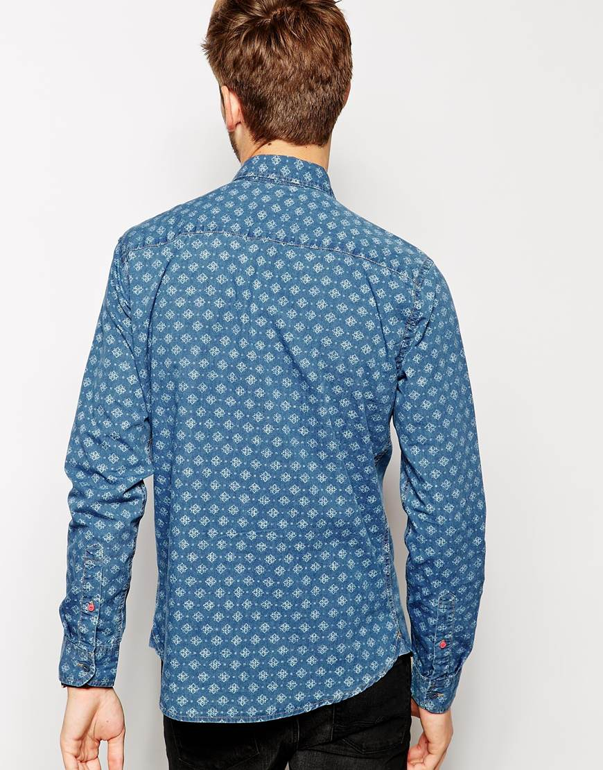 pepe jeans pepe shirt latrobe geometric reverse print in. Black Bedroom Furniture Sets. Home Design Ideas