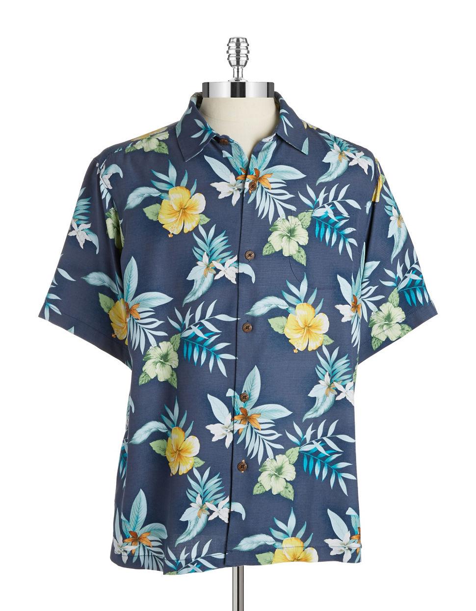 Lyst Tommy Bahama Silk Hawaiian Shirt In Blue For Men