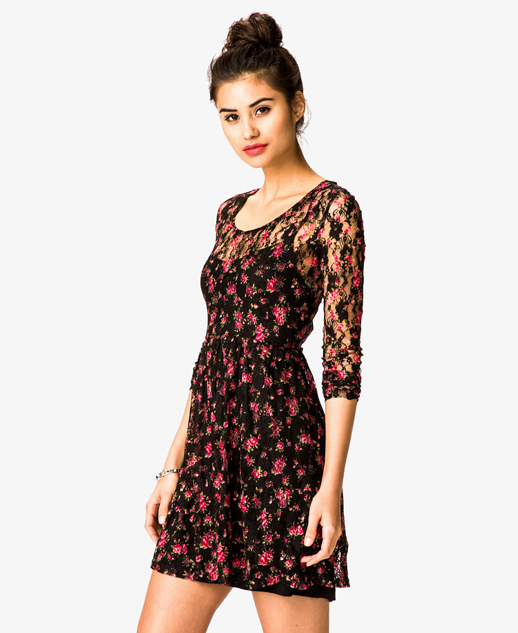 Lyst Forever 21 Floral Print Lace Dress In Black