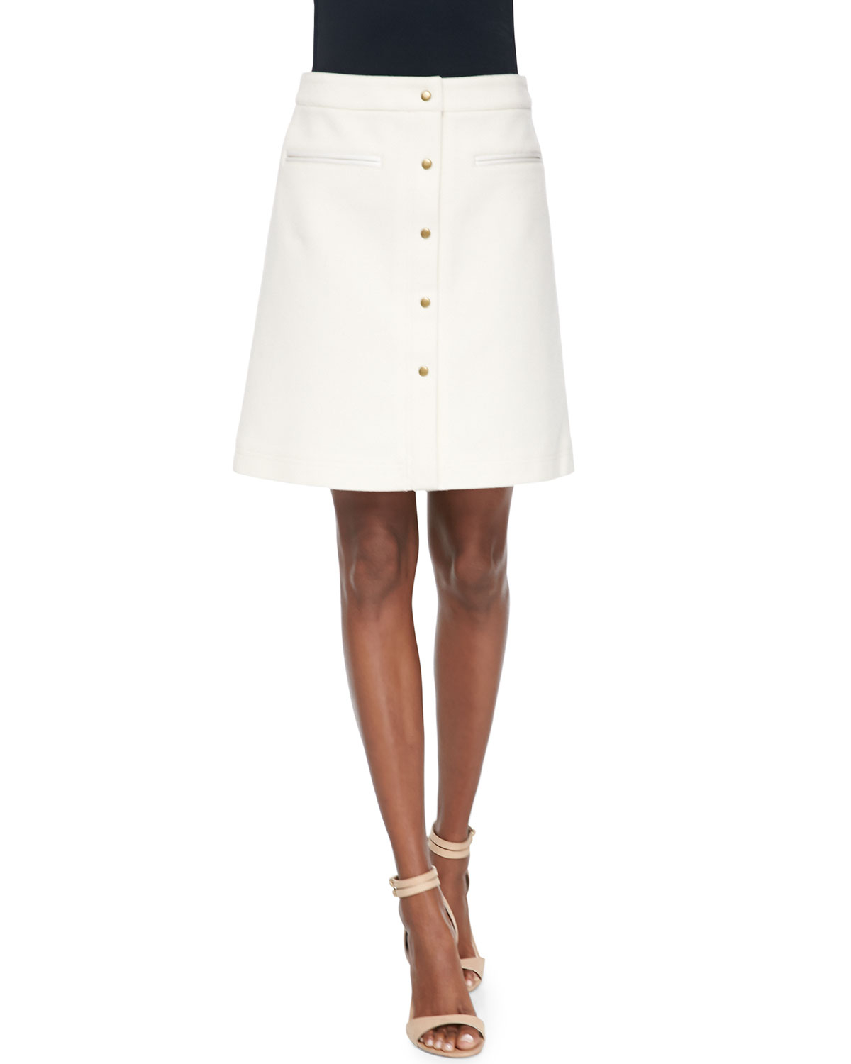 adam lippes a line skirt with front snaps in beige