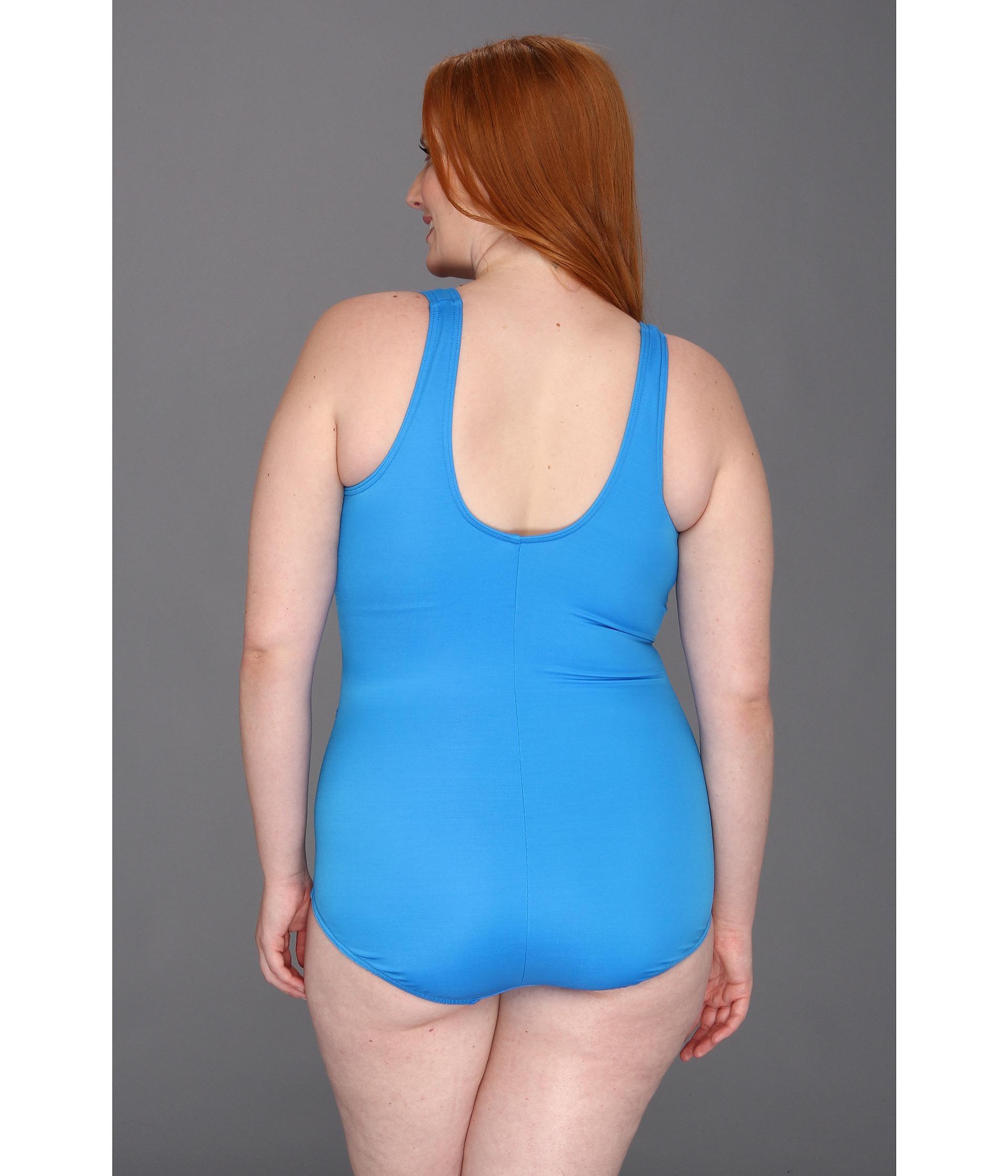 b91c76097f4272 Miraclesuit Plus Size Solid Oceanus in Blue - Lyst