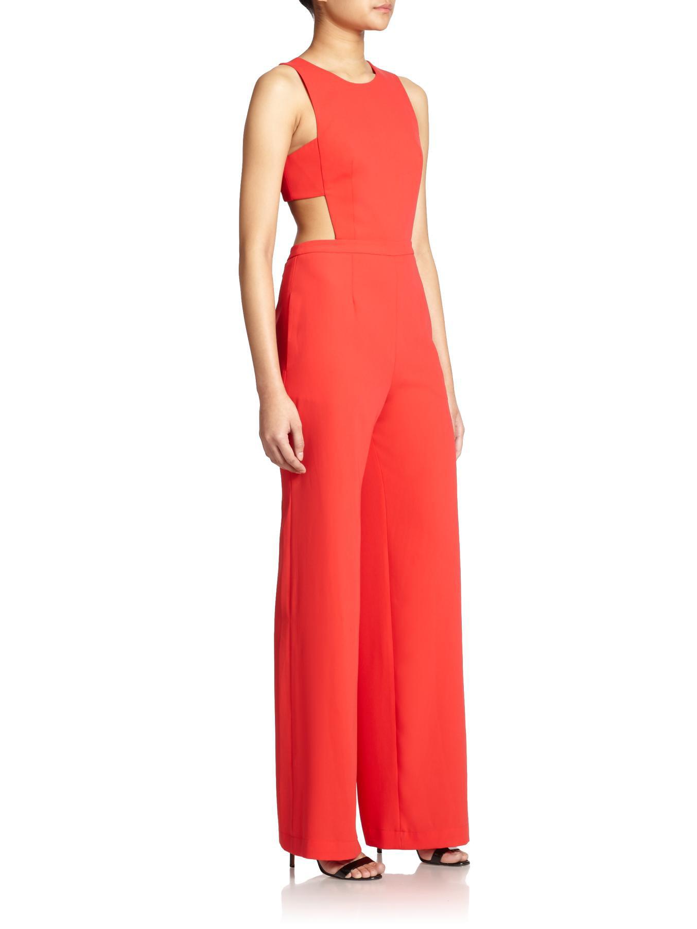 95337433910 Lyst - BCBGMAXAZRIA Rosanna Cutout Jumpsuit in Red