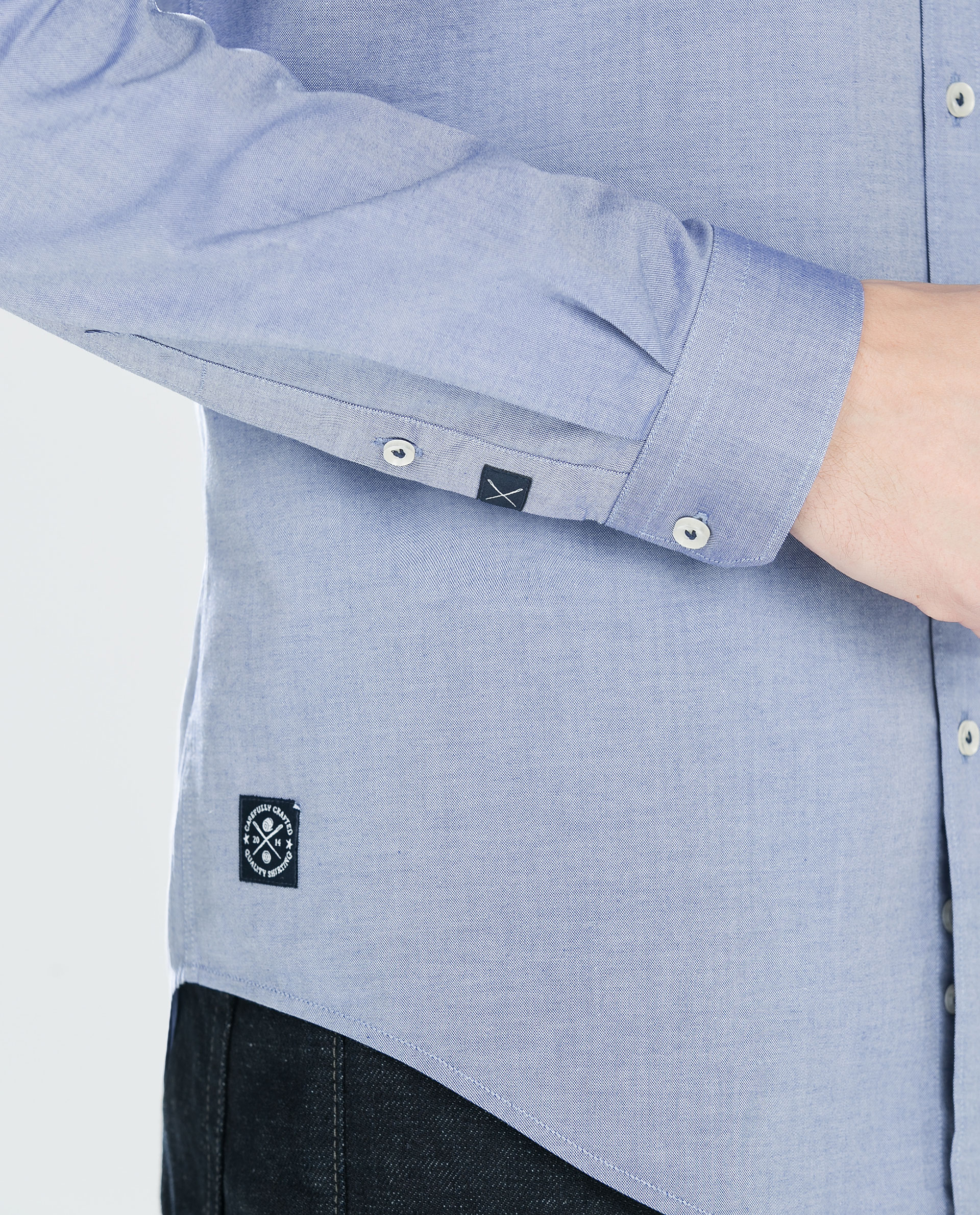 Zara Plain Shirt With Elbow Patches In Blue For Men Lyst